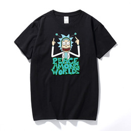 ccdd46851b8 Cool Rick Morty men t shirt 2017 Summer Anime T-shirts rick and morty  worlds folk White Fitness Cartoon tee shirt homme
