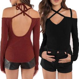 Wholesale night club tops - Cross Backless Shirt Female Sexy Halter Tight Long Sleeved Tops Women Night Club Sexy T-shirt