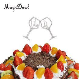 Argentina Venta al por mayor Sparkling Crystal Rhinestone Goblet We Cake Cake Topper Wedding Party Supplier Silver Suministro