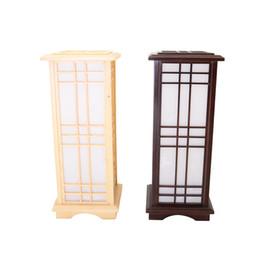 Wholesale indoor floor lamps - Japanese Style Floor Lamp Wood Light Indoor Lighting Home Decorative Design Lantern E27 Floor Lamp Wood Light Fixture For Hotel
