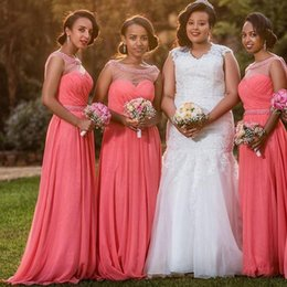 coral bridesmaid watermelon dresses Coupons - Watermelon Beaded Chiffon Bridesmaid Dresses Sheer Neck Pleated Floor Length African Bridesmaid Gowns Wedding Guest Dress Party Dresses