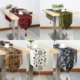 Wholesale Damask Runners - Table Cloth European Flower tablecloth Party Wedding Decoration Raised Flower Blossom Flocked Damask Table Runner Cloth Cover