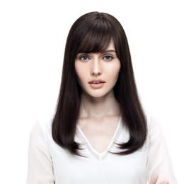 Peluca blanca larga recta completa online-kabell long Pelucas cortas para el cabello humano para mujeres blancas negras 160 Density Remy Hair Pelucas para el cabello brasileñas completas Color natural para el cabello liso # 2