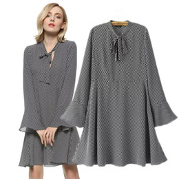 Wholesale Bell Stand - Lady large size XL-5XL chiffon wave point pattern loose dress women plus big code elegant Bell sleeve one piece work casual dress