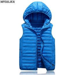 Wholesale Blue Wonder Black - MFERLIER Winter autumn women Men Casual Vest 4XL plus size black Cotton-Padded hooded Light wonder Vest Couple Jackets Waistcoat