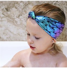 Wholesale Pink Artificial Grass - Beach Holiday Headbands for baby Mermaid Scales Knot Hair Head Band Baby girl Lovely hair accessories Elastic Wholesale B11