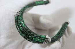 Wholesale sterling silver chains bracelet mens - wholesale mens jewelry Three layer geniune real green black python leather cord charm bracelet for women bangles