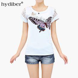 Wholesale T Shirts Rhinestones Wholesale - Butterfly Print White T-shirt Women Plus Size Tops 2017 Summer New Rhinestones Cotton O-neck Short Sleeve Women's T-shirt femme