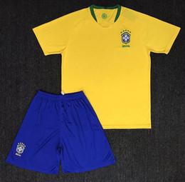 Wholesale Host M - 2018 world cup kit Brazil Soccer Jerseys Sets NEYMAR JR soccer kits COUTINHO G.JESUS Brasil national team host and guest Football