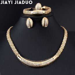 Wholesale Jade Small Beads - whole salejiayijiaduo African Beads Wedding Jewelry Summer Style Small Crystals Necklace Bracelet Earrings Gold color Wedding Ring Set