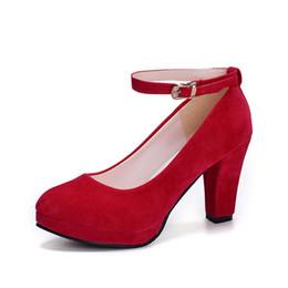 Argentina tamaño 34-40 2019 Nueva Sexy Pink Shoes Mujer Tacones Altos Plataforma Cómoda Novia Bombea Punta Redonda Formal Oficina Señoras Zapatos de la correa del tobillo Suministro