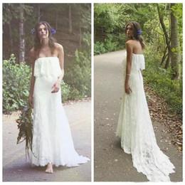 Argentina 2019 Boho Beach Wedding Dresses Una línea de hombro Barrer el tren Vestidos de novia de encaje completo para Beach Garden Hecho a medida Suministro
