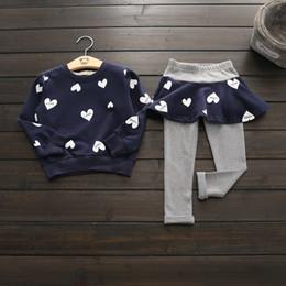 Wholesale Girls Heart Skirt - Spring kids clothes girl love heart top+skirt pant set 2 pieces children long sleeve cotton clothes suit 3 colors B11