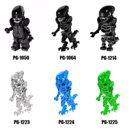 Wholesale alien series - Film Style Series Mix Lot Figures Alien Skull Alien Minifig Building Blocks Figures