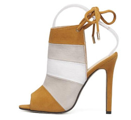 Wholesale Stripes High Heels Sandals - New summer women high heels sandals shoes woman pumps party wedding peep toe ankle strap stripe thin heels shoes