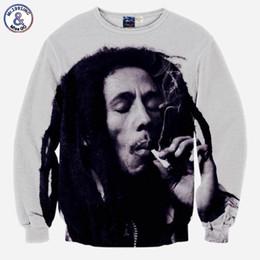 Wholesale Bob Animals - Hip Hop Hoodie Hip Hop Hoodie hoodies for men 3d sweatshirts funny print Bob Marley smoking casual tops slim long sleeve pullover hoodies