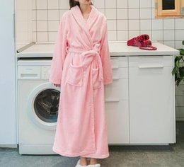 Accappatoio femminile rosa online-Winter Robe Female Sleepwear Long Robes Women Accappatoio Fashion Pink Robe Ladies Simple Style 3 colori