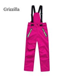 Wholesale Boys Waterproof Trousers - Wholesale- Grizzilla kids Professional Winter Ski Pants Girls boys Warm Waterproof Snow Skiing Snowboard Pants Outdoor Trousers Brand