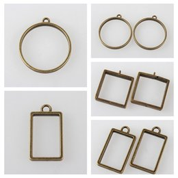 Тибетские рамки онлайн-50pcs Vintage Findings Tibetan Style Alloy Ring Frame Pendants for DIY Jewelry Making Accessories, Nickel Free, Antique Bronze