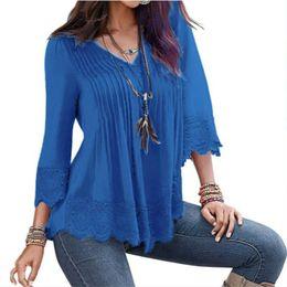 Wholesale Peplum Top Xs - Peplum Lace Blouse Womens Ruffle Boho Tops Femme Ladies Long Office Shirt 2018 Summer Sexy Female Tops Blouses