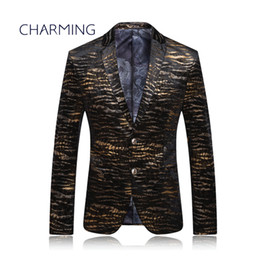 Wholesale Men Coats Checked - Coat suit for mens High-quality jacquard fabric Tiger pattern bronzing pattern craft production For actor singer best mens suits stylish men