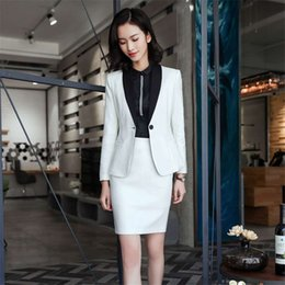 4ab7f58f9797 Novelty White Blazer Suits with Skirt and Jackets Sets For Ladies Office  Business Work Wear Formal Uniform Styles Blazers