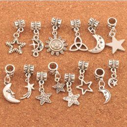 2019 mondcharme armband Mischte Stern-Mond-Sun-Charme bördelt 280pcs / lot tibetanisches Silber baumeln passendes europäisches heißer Verkauf der Armbänder DIY günstig mondcharme armband