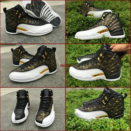 Wholesale Wing Flats - Free Shipping Air Retro 12 Wings Man Basketball Shoes Mens Retros 12s Wings Black Gold Cheap Run Shoe Sports Sneakers Boosts Size US 8 - 13