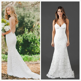 Wholesale Spaghetti Open Back Wedding Dress - Katie May Bridal Gowns 2018 Lace Wedding Dresses Spaghetti Straps Open Back Sexy Mermaid Bridal Dress Custom Made Beach Wedding Gowns