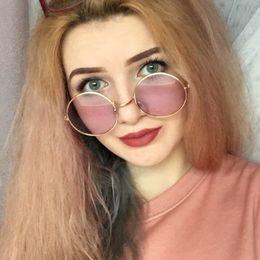 óculos de sol de lentes roxas Desconto 2019 Vintage Óculos De Sol Das Mulheres Retro Óculos Redondos Roxo Lense De Metal mulheres Óculos de Revestimento Óculos de sol gafas de mujer