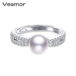 Wholesale sterling silver freshwater pearl ring - whole saleVEAMOR 100% Genuine Freshwater Pearl Ring Elegant Purple Ring for women,Fashion 925 sterling silver jewelry for Halloween