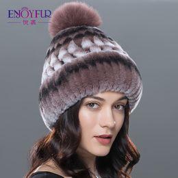 Women winter hat genuine rex rabbit fur beanies hat fox fur pom poms casual  caps 2017 new Russia fashion female caps big sale 9d6fa5a8f896