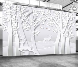 pájaros de papel de pared de árboles Rebajas Custom Retail Original 3D Creativo papel-Cut Art Forest TV Fondo Pared Abstracto Árbol Bird Linglu Mural