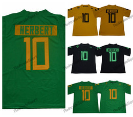 Camicie di justin online-2018 Oregon Ducks Justin Herbert College Jersey Jerseys Uomo economico New Green Black 10 Justin Herbert Stitched University Camicie da calcio università