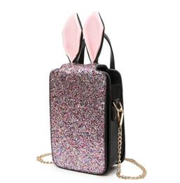 Wholesale Small Ears Cartoons - New Sequin Handbag Rabbit Ears Small Shoulder Bag Cartoon Personality Mini Messenger Chain Bags