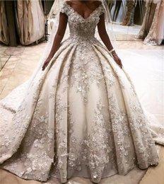 Wholesale Cathedral Train Flower - 2018 Luxury Princess Ball Gown Wedding Dresses 3D Flower Appliques Off Shoulder Crystal Bridal Gowns Long Cathedral Train Vestidos Largos