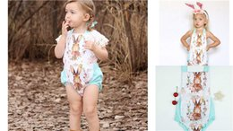 Wholesale Baby Rabbit Rompers - INS Baby Girls Easter Bunny Romper Kids Sleeveless Rabbit Backless Rompers Kids Fashion Summer Printed Clothes