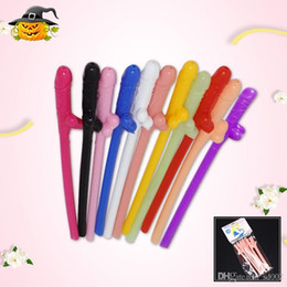 wholesale plastic penis Coupons - Funny Hen Party Drinking Straw Bachelorette Night Sucking Novelty Penis Straws Bar KTV Party Cheer Up Decoration Supplies New 3 1fk ZZ
