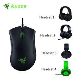 Wholesale Deathadder Mice - Original Razer DeathAdder Elite Wired Gaming Mouse 16000DPI Optical Sensor Ergonomic + 4 Kinds Headset Available