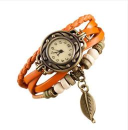 Envolver alrededor de las mujeres relojes online-Nueva venta caliente regalos especiales mujeres relojes retro tejido de la armadura alrededor de la hoja cuelga la pulsera Lady Womans reloj de pulsera reloj pt2