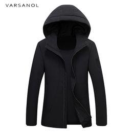 Wholesale Parka Style Jacket Men - Varsanol Winter Duck Down Coat Warm Parkas Thick Casual Style Jacket Slim Hooded Overcoat Long Sleeve Outerwear