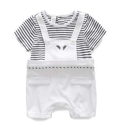 Wholesale Overalls Short Sleeve - Summer Baby Boy Romper Short Sleeve Cotton Jumpsuit Striped Baby Rompers Overalls Newborn Baby Boy Girl Clothes