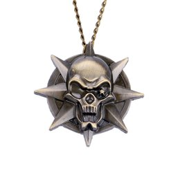 Wholesale Skull Watch Necklace - Rock Trendy Small Pocket Watch Cool 3D Star Skull Sculpture Slim Necklace Awesome Punk Skull Pendant Unique Halloween Gift Clock