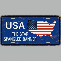 Wholesale posters banners - USA The Star Spaingled Banner Vintage Metal Tin Signs Car Number License Plate Plaque Poster Bar Club Wall Garage Home Decoration