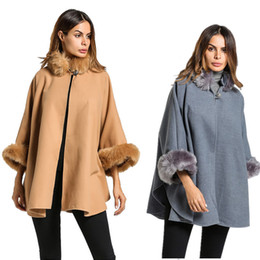 Wholesale Cape Overcoat - 2018 Women Winter Wool Poncho and Capes with Faux Fox Fur Stand Collar Overcoat Flare Sleeve Button Cardigan S-3XL
