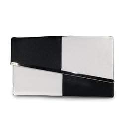 Wholesale Large Black Evening Bag - Fashion Fight Color Leather Summer Women's Clutch Bags Chain Black and White Large Capacity Envelope Bag Women Party Evening Bag