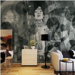 sfondi sfondi neri Sconti Carta da parati fotografica 3D Dipinto a mano bianco nero Geisha giapponese pittura astratta sfondo muro soggiorno personalizzato murale carta da parati