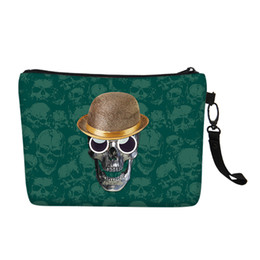 Customize Image Women Cosmetic Bag Skull Zombie Punk Canvas Toiletry  Case Clutch Purse Travel Storage Girl Christmas Gift supplier skull makeup от Поставщики черепа макияж