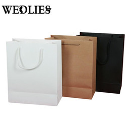 Wholesale Bamboo Shopping Bags Wholesale - Wholesale- 10PCS Lot Kraft Paper Gift Bag With Handle Wedding Birthday Party Gift Christmas New Year Shopping Package Bags 19X13X6cm