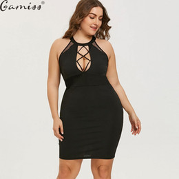 5889d4b347ab Gamiss Plus Size Mini Cut Out Sexy Club Party Dress Women Black O Neck  Sleeveless Bodycon Dresses Vestidos Summer Dress Robe 5XL